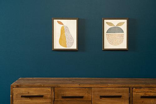 Framed Pear & Apple Set of 2