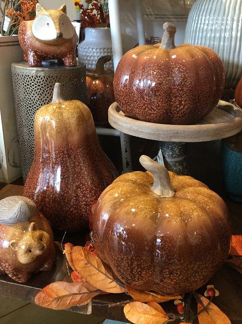Harvest Mottled Pumpkin Set of 2