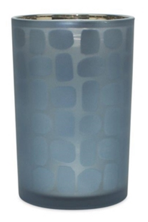 Slate Blue Glass Candle Holder