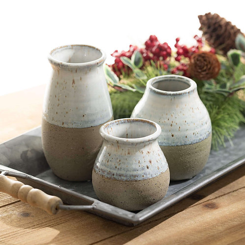 Speckled Clay Vases Set of 3