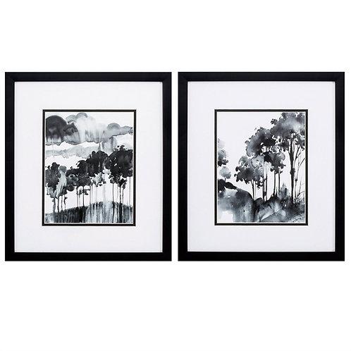 Ink Wash Trees Set of 2