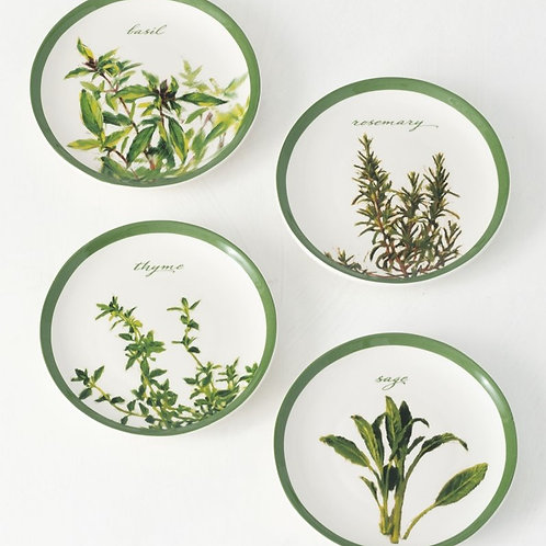 Herb Snack Plates Set of 4