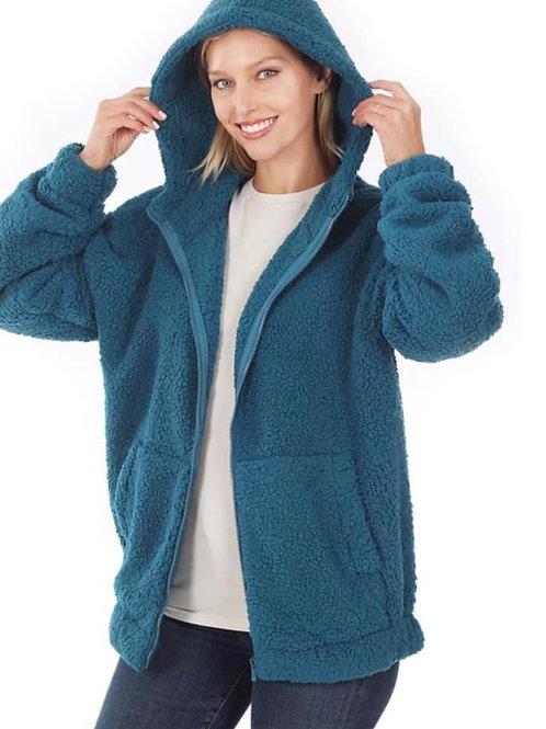 Sherpa Fleece Zip Hoodie