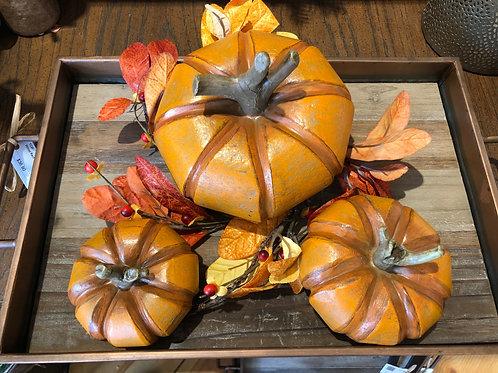 Wood-like Pumpkin Set of 3