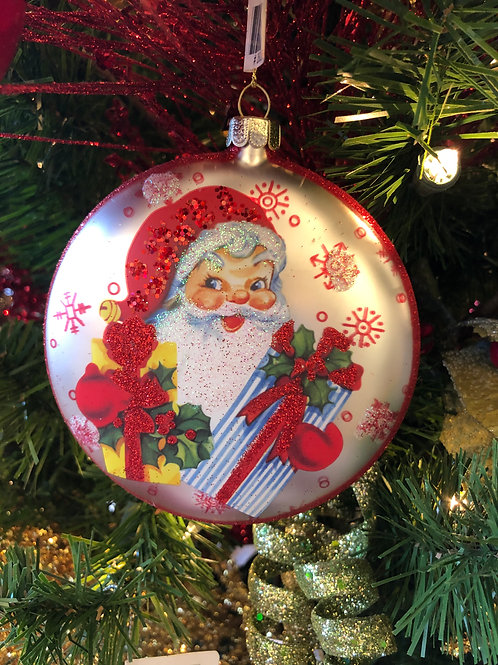 Happy Santa Disc Ornament