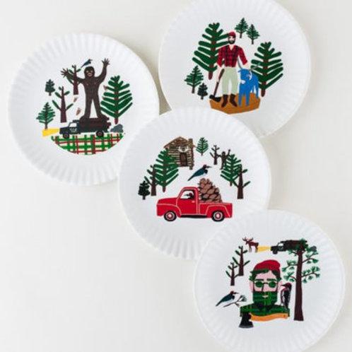 "Northwoods Melamine""Paper"" Plates Set of 4"
