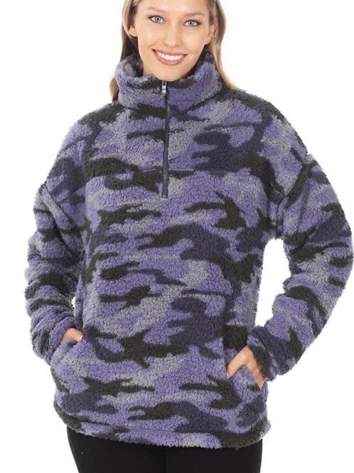 Camo Sherpa Fleece Pullover