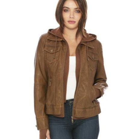 Madison VeganLeather Hooded Jacket