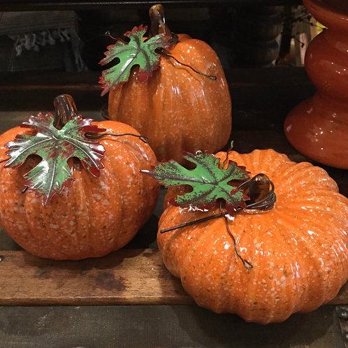 Speckled Orange Pumpkins Set of 3
