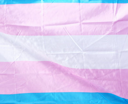The Transgender Pride Flag with pink, blue, and white stripes