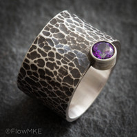 Hammered Wide Band with gemstone