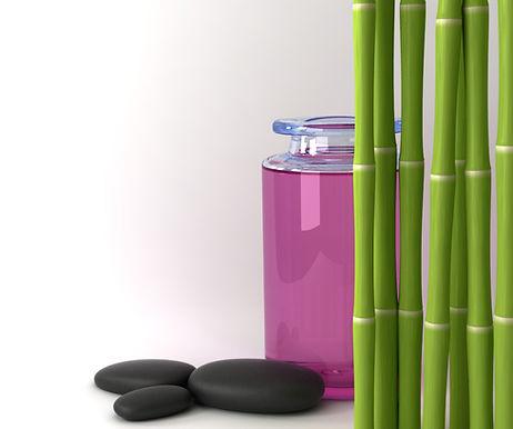 Ontspannende afbeelding met hotstones en bamboe