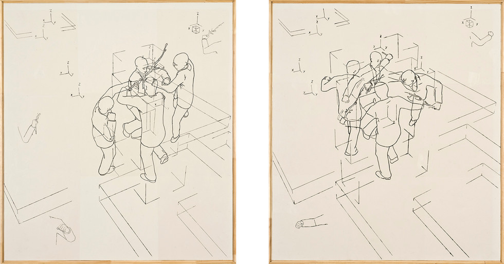 """Sketch"" Encáustica sobre madera. 80 x 71.5 cms c/u 2008."