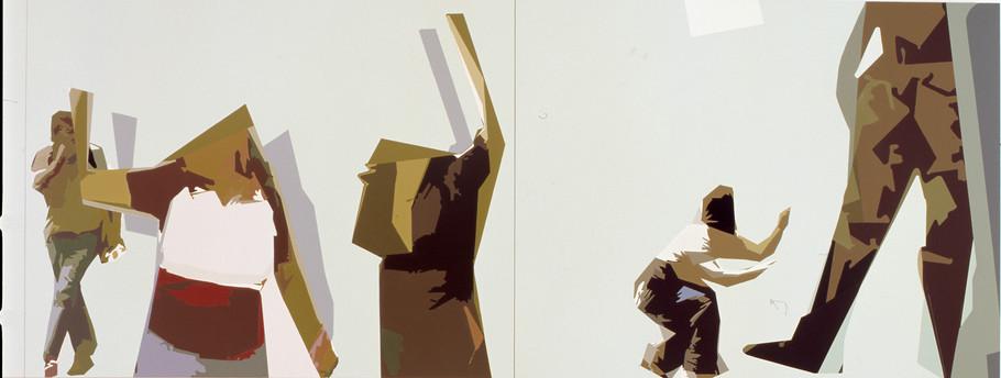 """""""Sin título"""" Laca sobre madera, 100 x 384 cms 2003."""