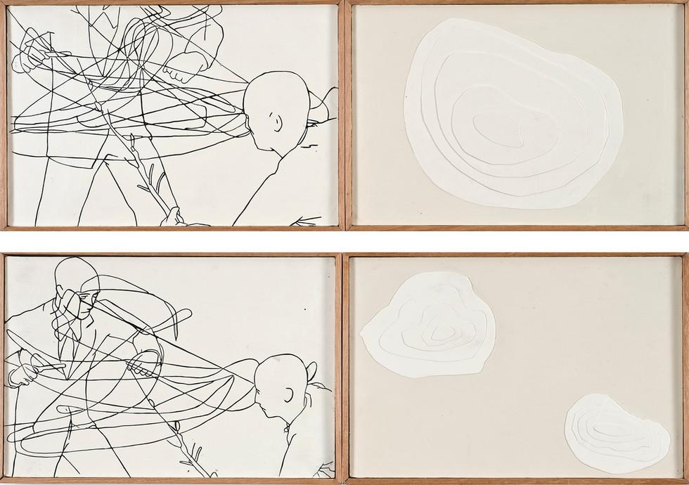 """Sketch"" Encáustica sobre madera. 22 x 56 cms c/u 2008"