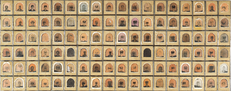 """102"" Emulsión fotográfica sobre adobe, polvora. 102 x 234 cms 1992"