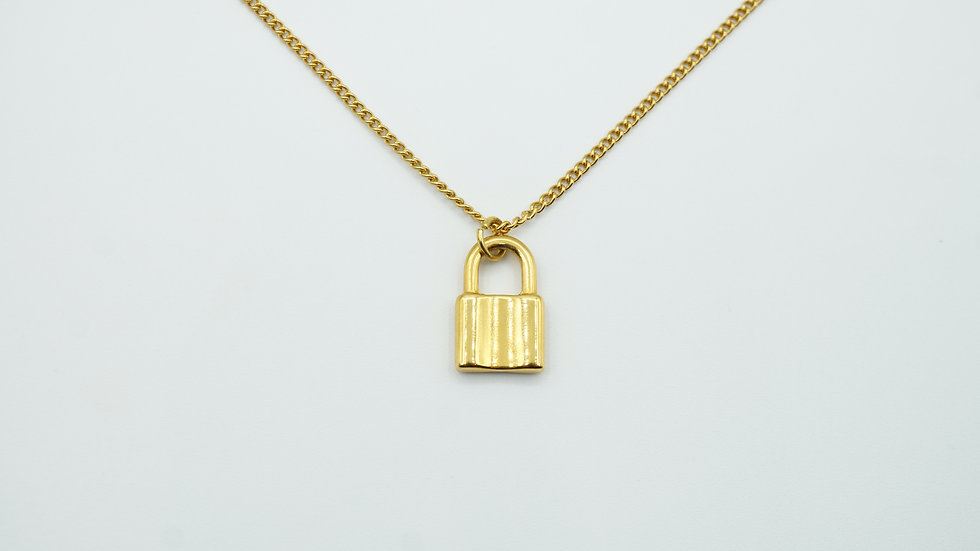 gold padlock necklace