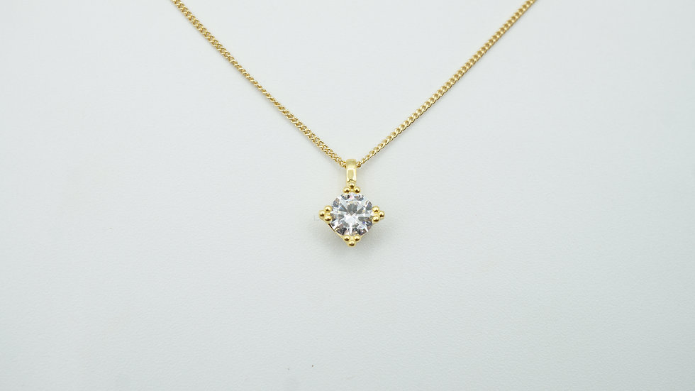 miniature 925 stirling silver diamond necklace