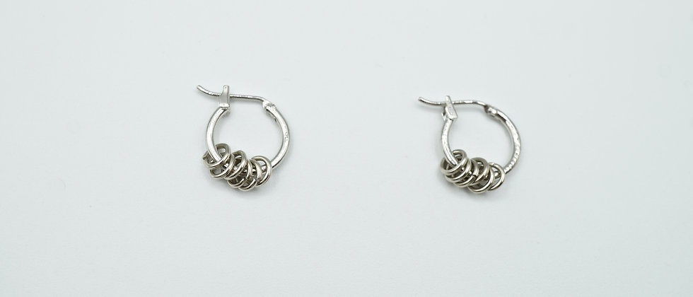 silver multi ring hoops