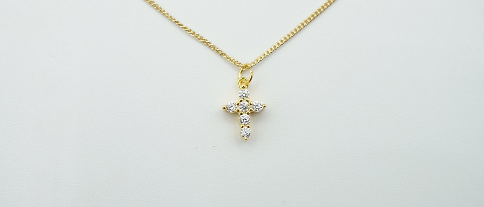miniature 925 stirling silver + gold cross necklace