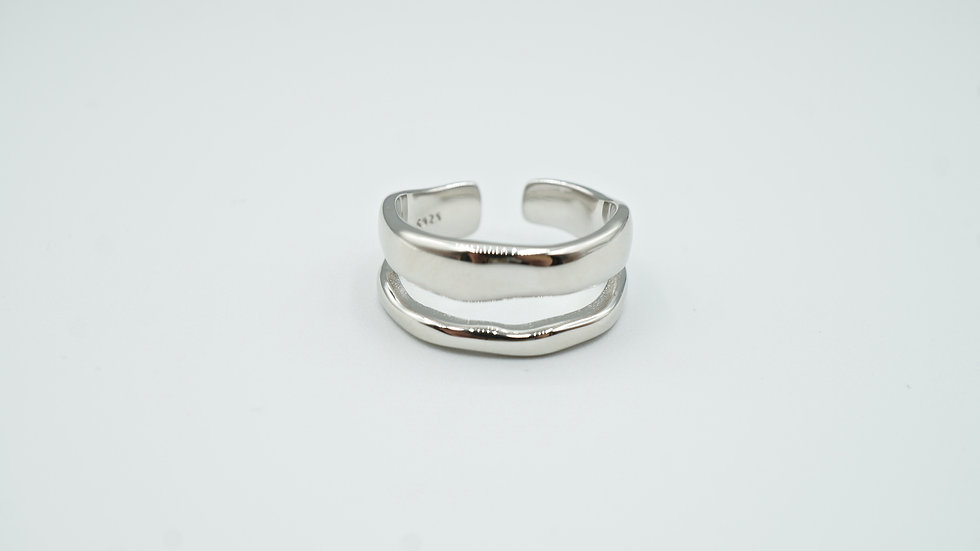 double band ring - silver