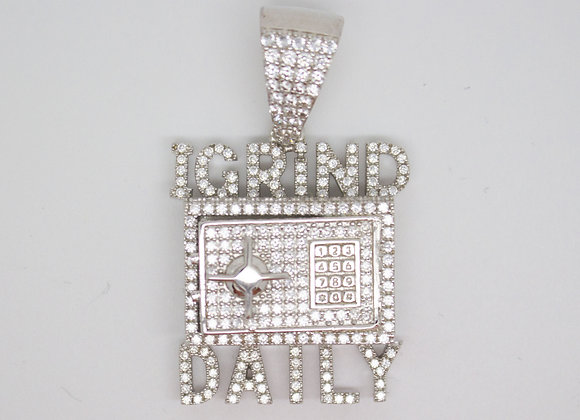 Silver 'I Grind Daily' Pendant