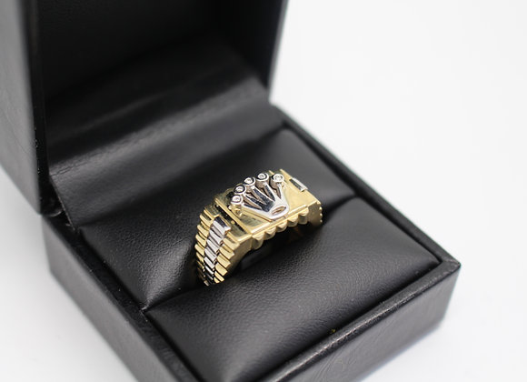 'Crown' Diamond Ring Yellow & White Gold