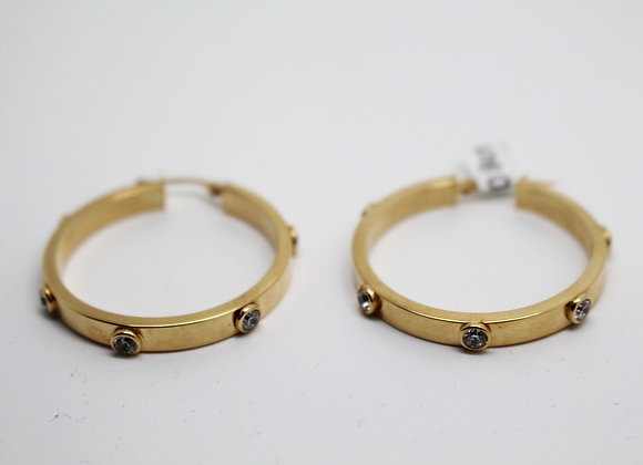 Yellow Gold 'Stud Hoop' Earring