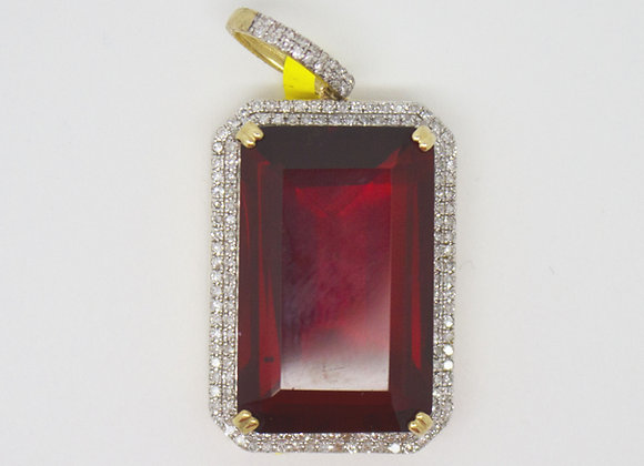 Micro Yellow Red Gem Pendant