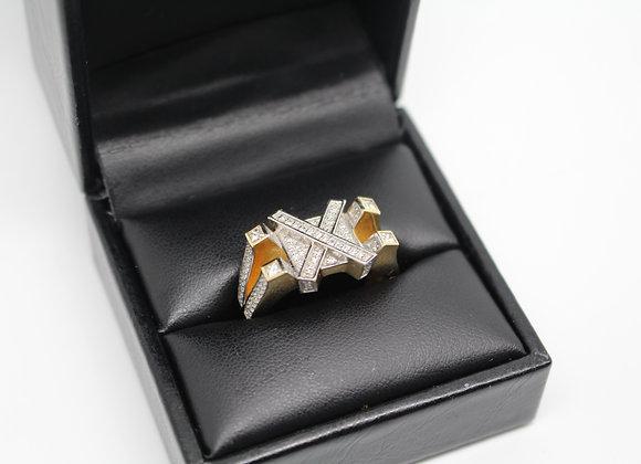 'X' Yellow Gold Diamond Ring