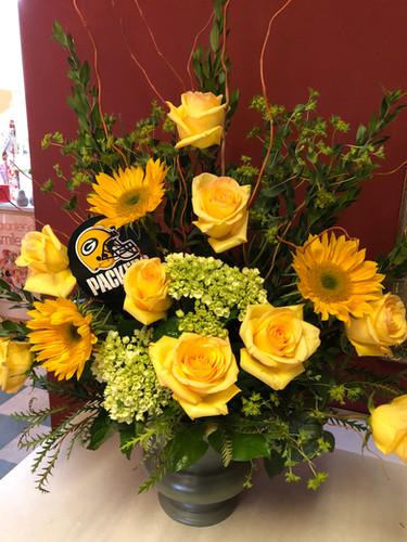 Green and Gold Floral Arrangement