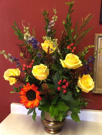 Fall Floral Arrangement with Roses