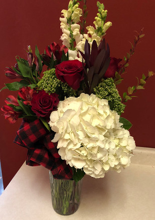 Custom Winter Bouquet with Buffalo Check Bow