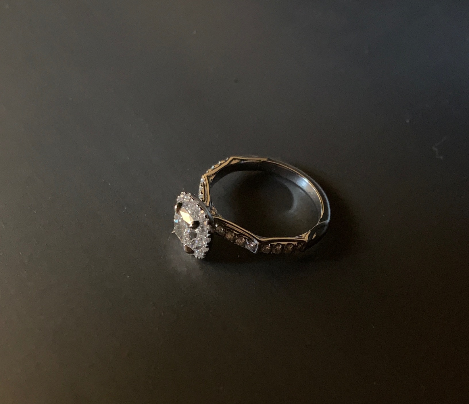Vonbuskirk- Halo engagement ring-side view