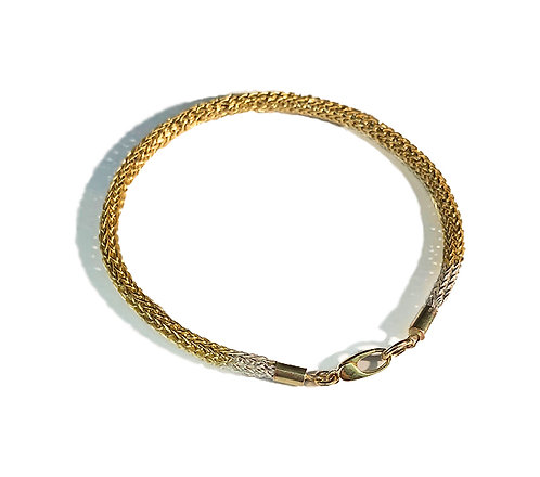 Two Tone- 18k Yellow Gold-Sterling silver hand woven bracelet