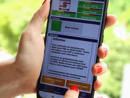 Defesa Civil lança aplicativo que monitora condições meteorológicas e alerta para riscos.