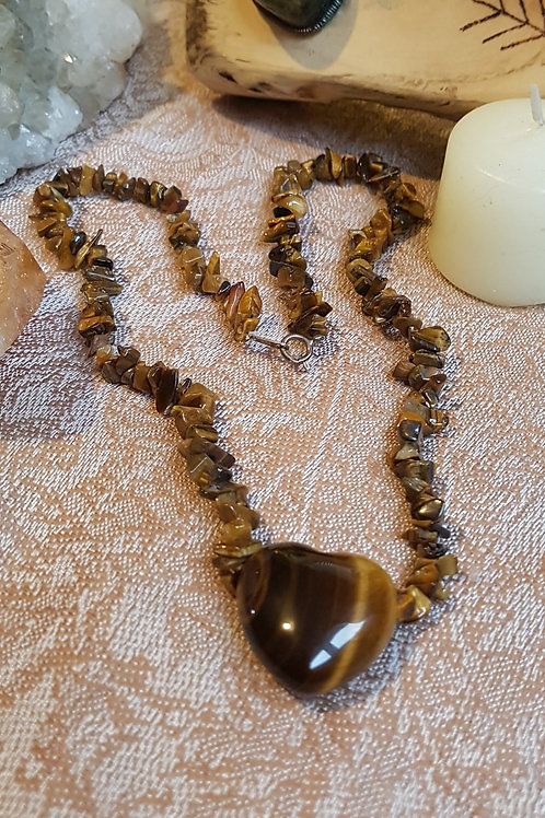 Tigers Eye necklace with Rose detail