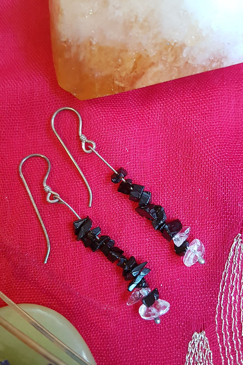Black Onyx & Rock Crystal earrings