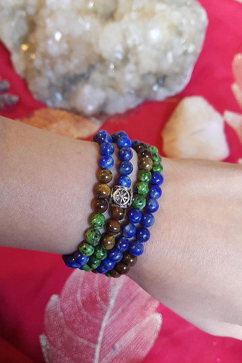 Tigers Eye, Jasper & Lapis Lazuli Mala Stretch band