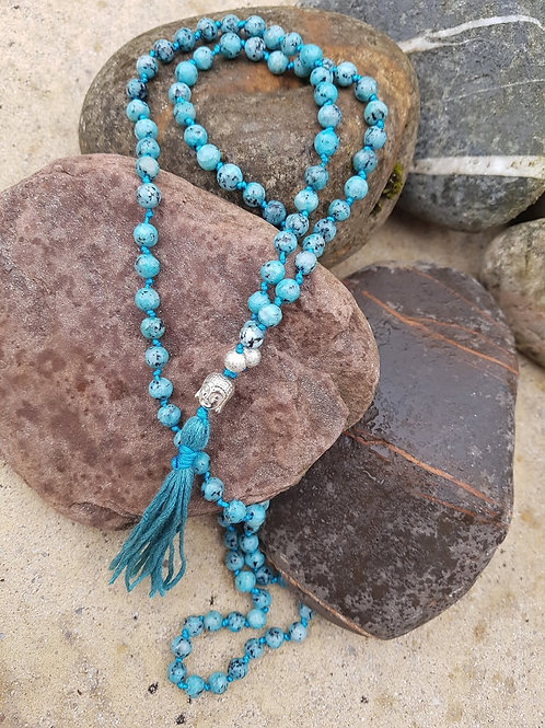Blue Jasper Buddha guru bead Mala Yoga Meditation Necklace