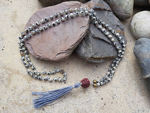 Dalmation Jasper Mala Bead necklace, Rudraksha, grey