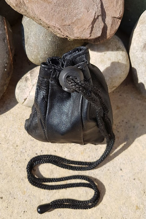 Runes, Crystals, Cards Pouches with drawstring, handmade italian leather