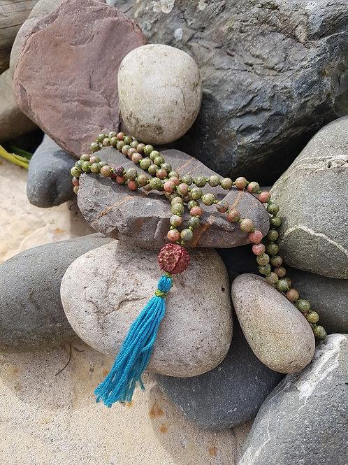 Unakite Mala Crystal Yoga Meditation necklace, rudraksha
