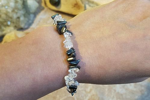 Hematite & Crystal chip bracelet