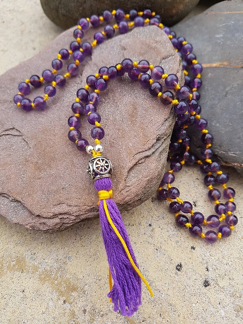Amethyst Mala Yoga Meditation Necklace