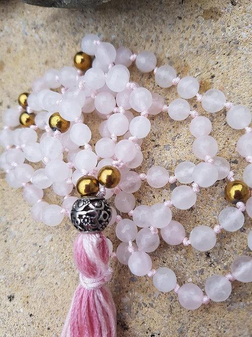 Rose Quartz Mala Yoga Meditation necklace, asian flower guru bead, pink