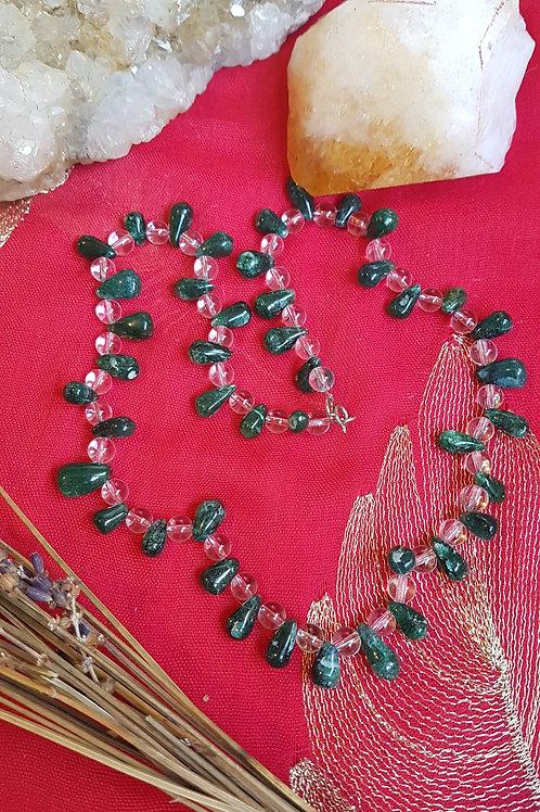 Green Aventurine & Rock Crystal necklace