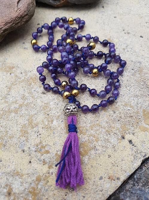 Amethyst Mala Yoga Meditation Necklace, butterfly guru bead, blue