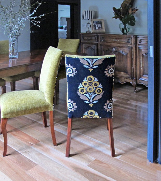 Hard-wearing fabric on the front and pattern on the back makes these dining chairs beautiful and family friendly.