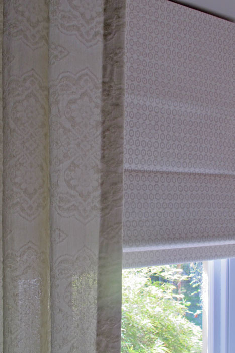 Patterned fabrics combine to create a subtle, beautiful effect.